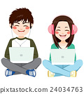 Teenagers With Headphones Laptop Sitting 24034763