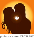 Sunset Silhouette Couple Kissing 24034767