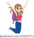 Student Jumping Girl 24034771