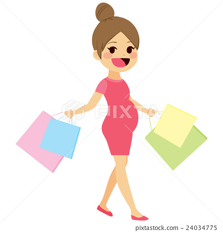 Mother Walking Shopping Pregnant 24034775