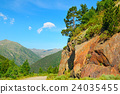 Scenic mountain landscape with cliff and pines 24035455