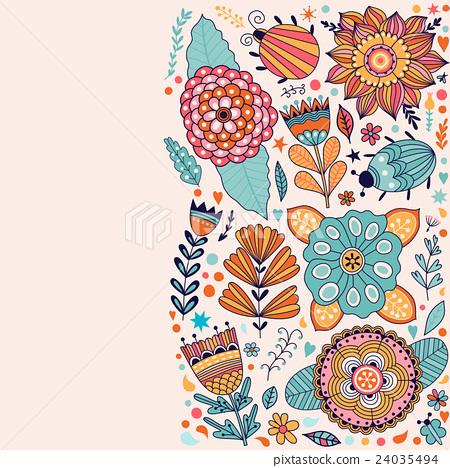 Floral card design, flowers and leaf doodle 24035494