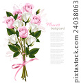 Beautiful bouquet of pink and white roses. Vector 24038063