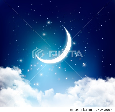 Night sky background with with crescent moon 24038067