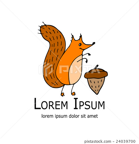 Funny squirrel with nut for your design 24039700