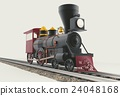 Old American Steam Locomotive 3D illustration 24048168
