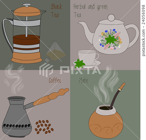 Set of tea and coffee, green and herbal tea, black 24056098