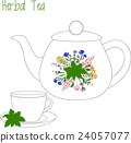 teapot with tea cups, herbal, green, vector 24057077