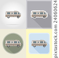car van caravan camper mobile home flat icons 24060624