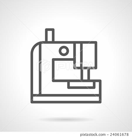 Portable sewing machine black line vector icon 24061678