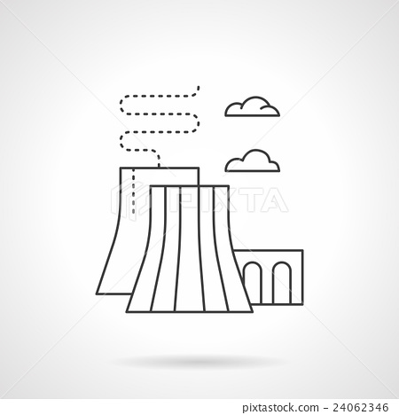 Thermal power station flat line vector icon 24062346
