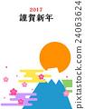new year's card, sunup, mt fuji 24063624