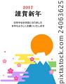 new year's card, sunup, mt fuji 24063625