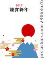 new year's card, sunup, mt fuji 24063626