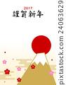 new year's card, sunup, mt fuji 24063629