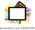 Tablet PC with school office supplies 24065584
