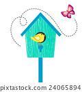 Blue cartoon bird house with bird and butterfly. 24065894
