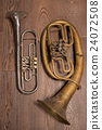 old brass wind instrument and horn   24072508