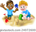Cartoon Boys Making Sandcastles 24072600