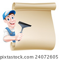 Window Cleaner Cartoon Sign 24072605