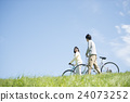 couple, bicycle, bicyclists 24073252