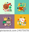 Gambling flat icons set 24075678