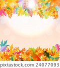 Shiny Autumn Natural Leaves Background. Vector 24077093