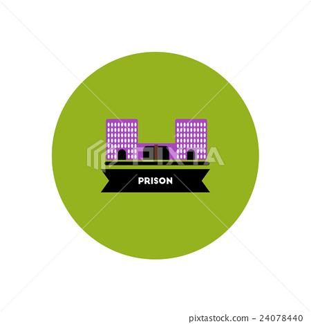 stylish icon in color circle building prison 24078440