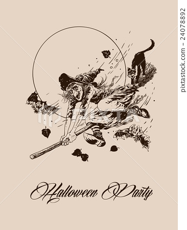 Vintage halloween witch flying on broom  24078892