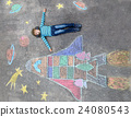 little kid boy flying by a space shuttle chalks 24080543
