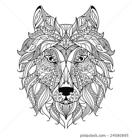 Wolf head zentangle stylized, coloring page. - Stock ...