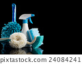 cleaning equipment, blank expression, black background 24084241