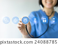 Medicine doctor & nurse working with medical icons 24088785