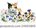 팬지와 삼색 털 고양이 24093805
