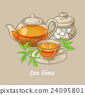 cup of tea, teapot and sugar bowl 24095801
