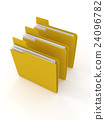 three yellow folder on white 24096782