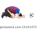 soccer player lose the game and kneel down 24101473