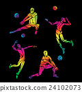 Vector volleyball silhouettes rainbow collection 24102073
