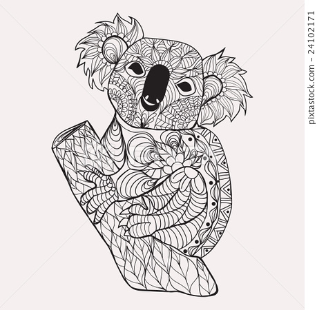 zentangle style koala black white hand drawn stock illustration 24102171 pixta. Black Bedroom Furniture Sets. Home Design Ideas
