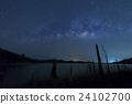 milkyway and blue sky over the lake 24102700