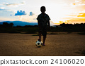kids playing soccer football for exercise. 24106020