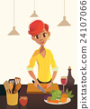 Healthy food, cartoon woman cooking in the modern 24107066