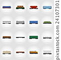 set icons railway carriage train flat icons vector 24107301