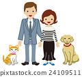 夫妻和寵物狗和貓 24109511