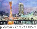 고베 하버 랜드의 스케치 포트 타워 고베의 야경 24110571