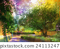 pathway in a peaceful green park,painting 24113247
