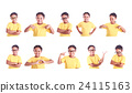 Set portrait of young Asian girl wearing yellow t-shirt isolated on white 24115163