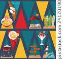 Seamless pattern with vacation objects on dark 24120190