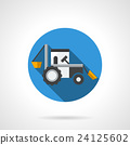 Farming tractor flat color design vector icon 24125602