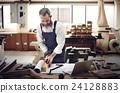 Carpenter Craftmanship Carpentry Handicraft Wooden Workshop Concept 24128883